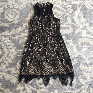 Xhilaration black lace and nude mock neck dress